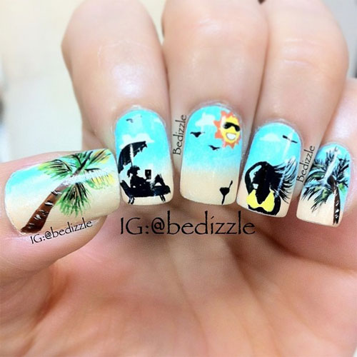 Awesome summer nail art designs ideas for girls 2013 girlshue summer day at the beach nail art prinsesfo Image collections