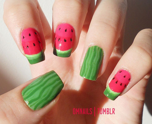 Fabulous Nail Art Design 2013 – Watermelon Nail Design - Awesome Summer Nail Art Designs & Ideas For Girls 2013 Girlshue