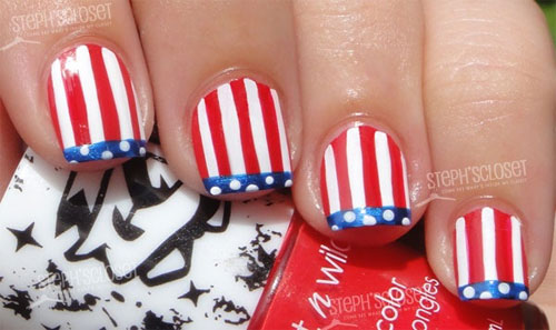 15 easy cool fourth of july american flag nail designs 4th of american flag nail art prinsesfo Gallery