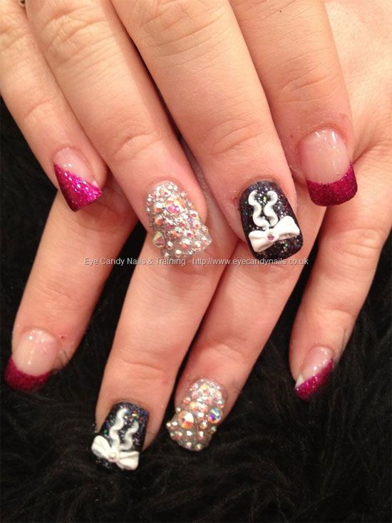 15 best 3d acrylic nail art designs ideas 2013 for girls black pink silver nail art with swarovski crystals 3d acrylic bow nail art prinsesfo Images
