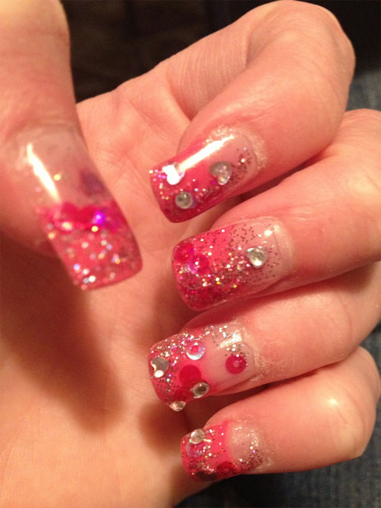 15 simple yet elegant pink acrylic nail art designs ideas 2013 pink acrylic nails hearts prinsesfo Images