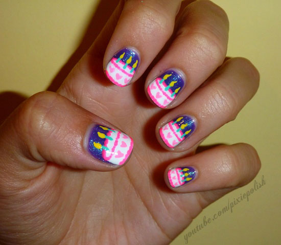 Image source - 20 Happy Birthday Nail Art Ideas & Designs For Girls 2013 Girlshue