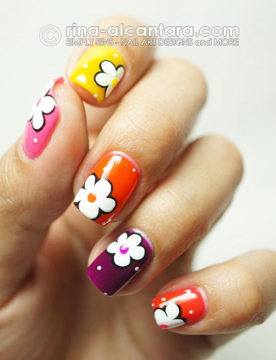 Easy Flower Nail Art Step By - Glamour Nail Salon