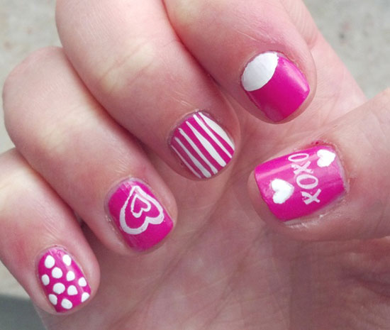 15 inspiring valentines day nail art designs ideas 2013 for pink white valentines day nails prinsesfo Choice Image