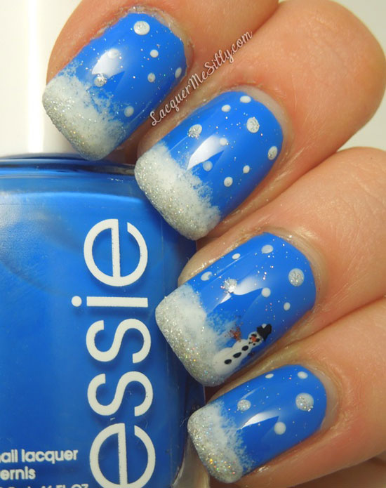 Snow-Themed Mani - 15 Cool, Simple & Easy Winter Nail Art Designs & Ideas 2012/2013