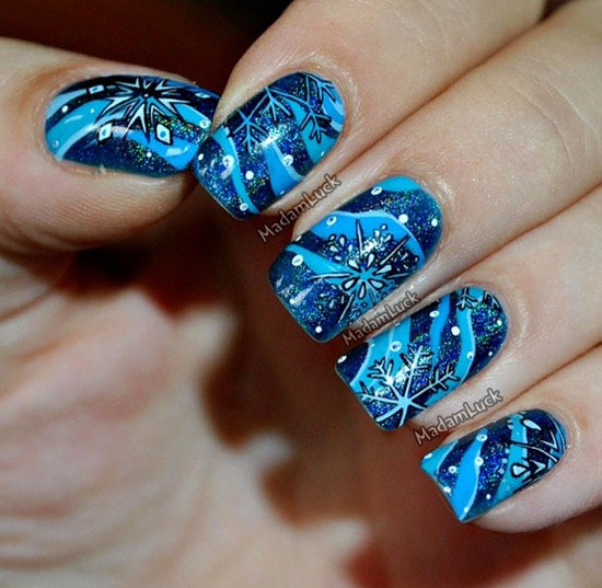 Easy Winter Snowflake Nail Art Ideas & Designs 2012/2013 For Girls . ... - Nail Art Ideas For Winter ~ Beautify Themselves With Sweet Nails