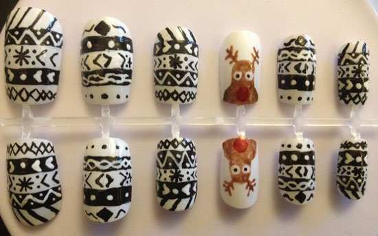 hand painted nails christmas reindeer design - Nail Design Ideas 2012