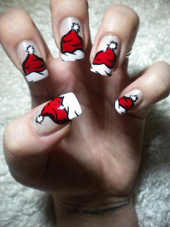cute santas hat nail art - Nail Design Ideas 2012