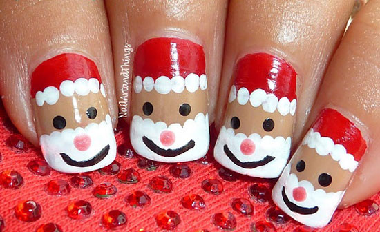 Jolly Santa Nails For Christmas - 15 Best, Cute & Amazing Christmas Nail Art Designs, Ideas