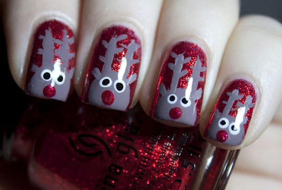 Reindeer Nail Art Design For Christmas - 15 Simple & Easy Christmas Nail Art Designs & Ideas 2012 For
