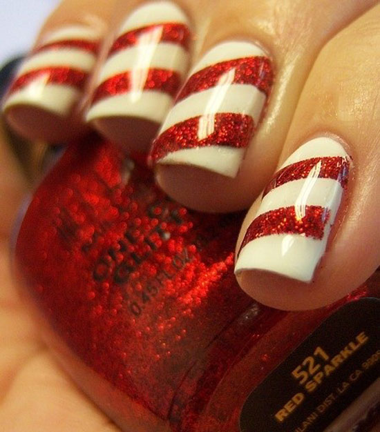 Peppermint Nails — Christmas Nails - 15 Simple & Easy Christmas Nail Art Designs & Ideas 2012 For
