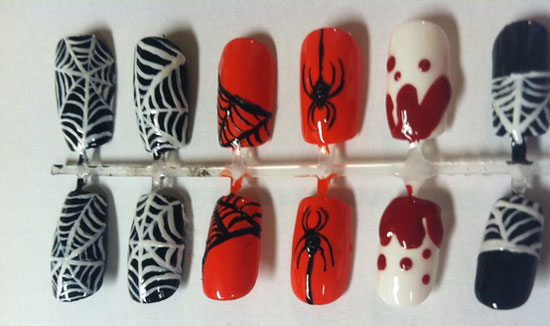 25 best scary halloween nail art designs ideas 2012 girlshue hand painted halloween themed press on nails prinsesfo Image collections