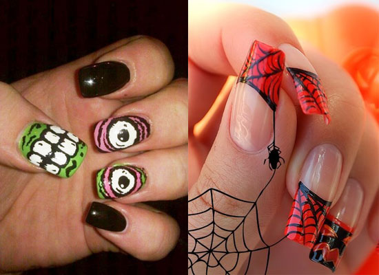 Nail Design Ideas 2012 toe nails with pink bling design Monster Web Inspired Nails For Halloween