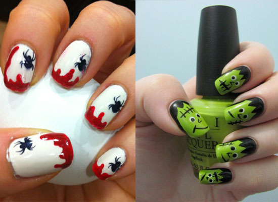 Blood & Spider Nail Art For Halloween - 25 Simple, Easy & Scary Halloween Nail Art Designs, Ideas