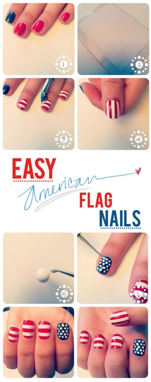 American Flag 4th Of July Nail Art Tutorial