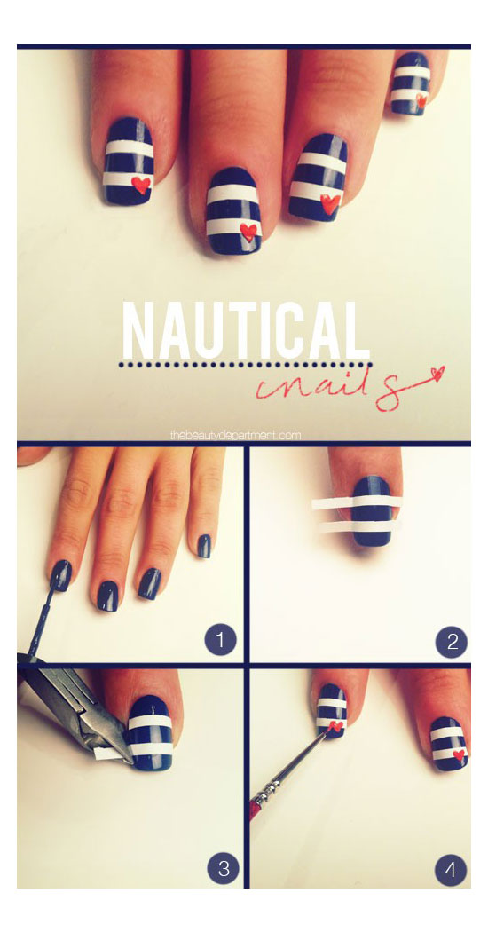 25 best easy nail art tutorials 2012 for beginners learners nautical nails tutorial prinsesfo Images