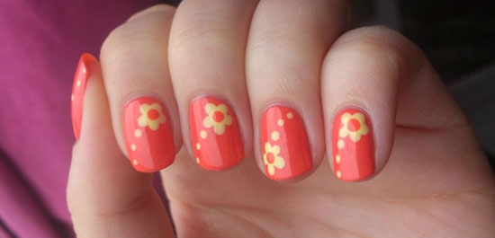 20 best yet stylish random nail art designs supplies girlshue nail art flower orange yellow prinsesfo Image collections