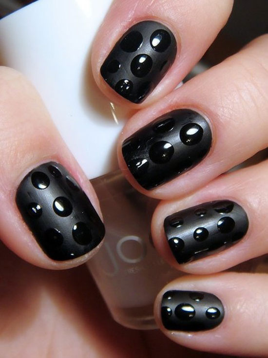 20 Easy & Simple Black Nail Art Designs, Supplies & Galleries For ...