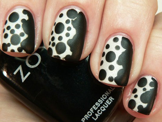 Black White Dots Nails