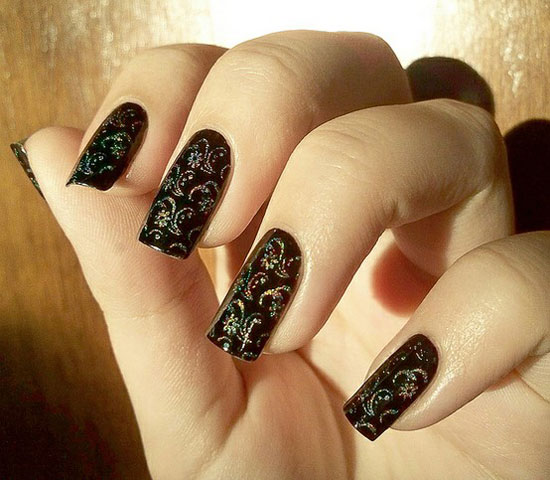 20 easy simple black nail art designs supplies galleries for glittery black nails prinsesfo Choice Image