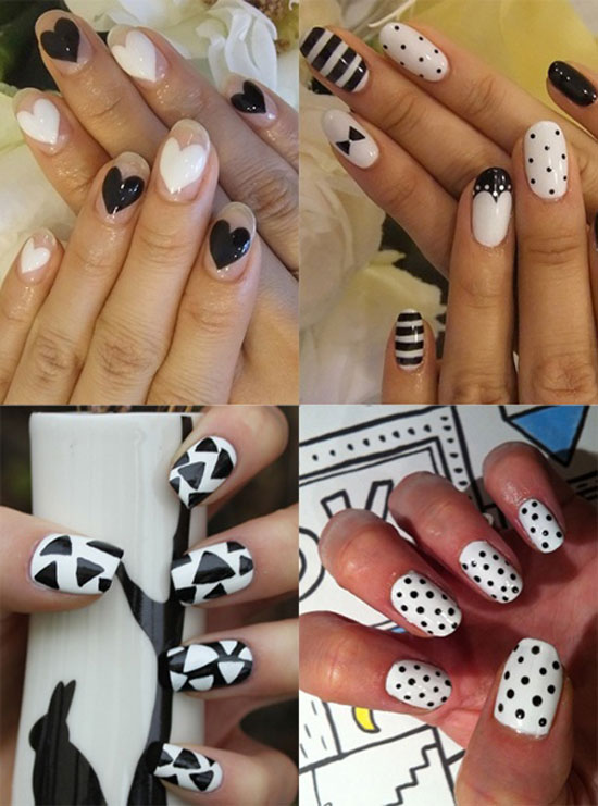 20 easy simple black nail art designs supplies galleries for nails black white prinsesfo Choice Image