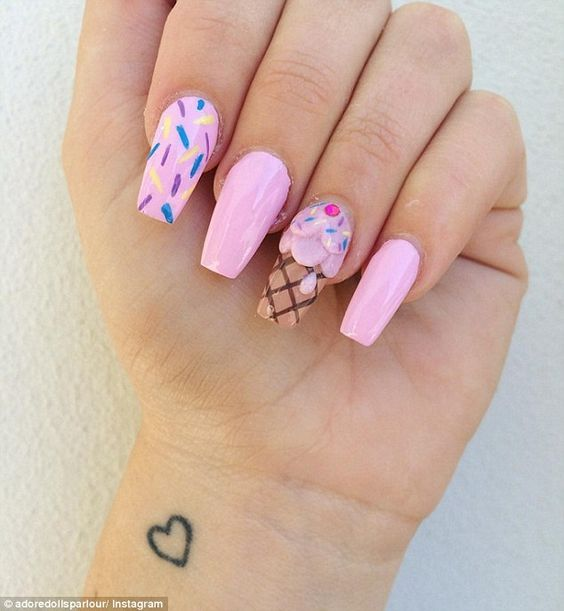 Ice Cream Nail Art Ideas for Summer 2016 3